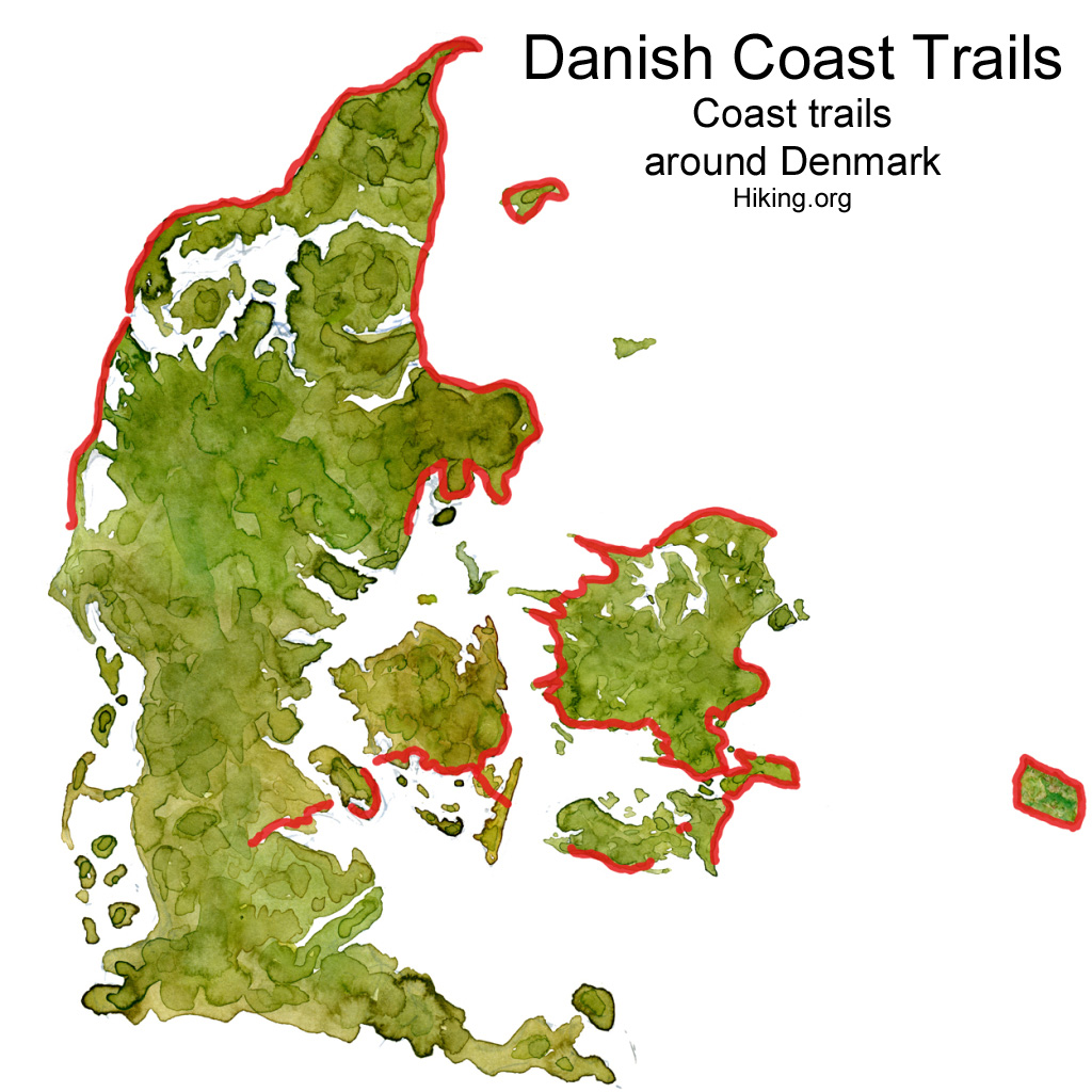 Drawing of the coastal paths and coast trails in Denmark. Watercolor by Frits Ahlefeldt