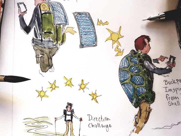 Drawing of a solar power backpack and a turtle shell looking solar power backpack. sketches by Frits Ahlefeldt