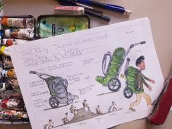 Rough concept sketch Burley Travoy wheel hiking