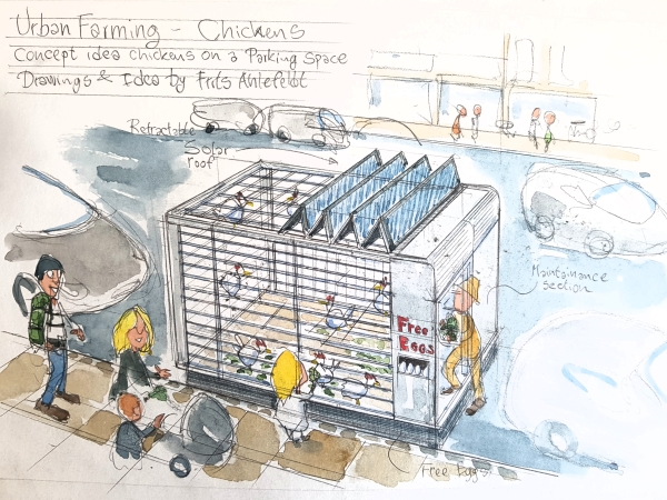 Drawing of a chicken home on a parking spot, illustration by Frits Ahlefeldt