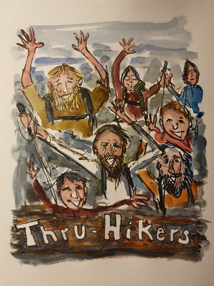 Sketches of thru-hikers from trails, illustration by Frits Ahlefeldt