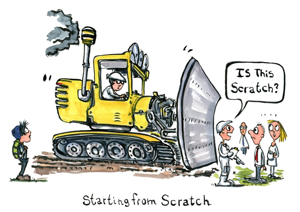 """Drawing of a yellow buldozer and a man in safety suit asking """"is this scratch"""" Illustration by Frits Ahlefeldt"""
