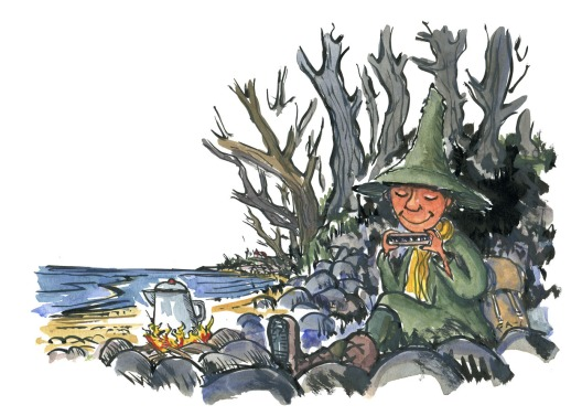 Hiker in green clothes and high hat, inspired by the Snufkin from the Moomin books