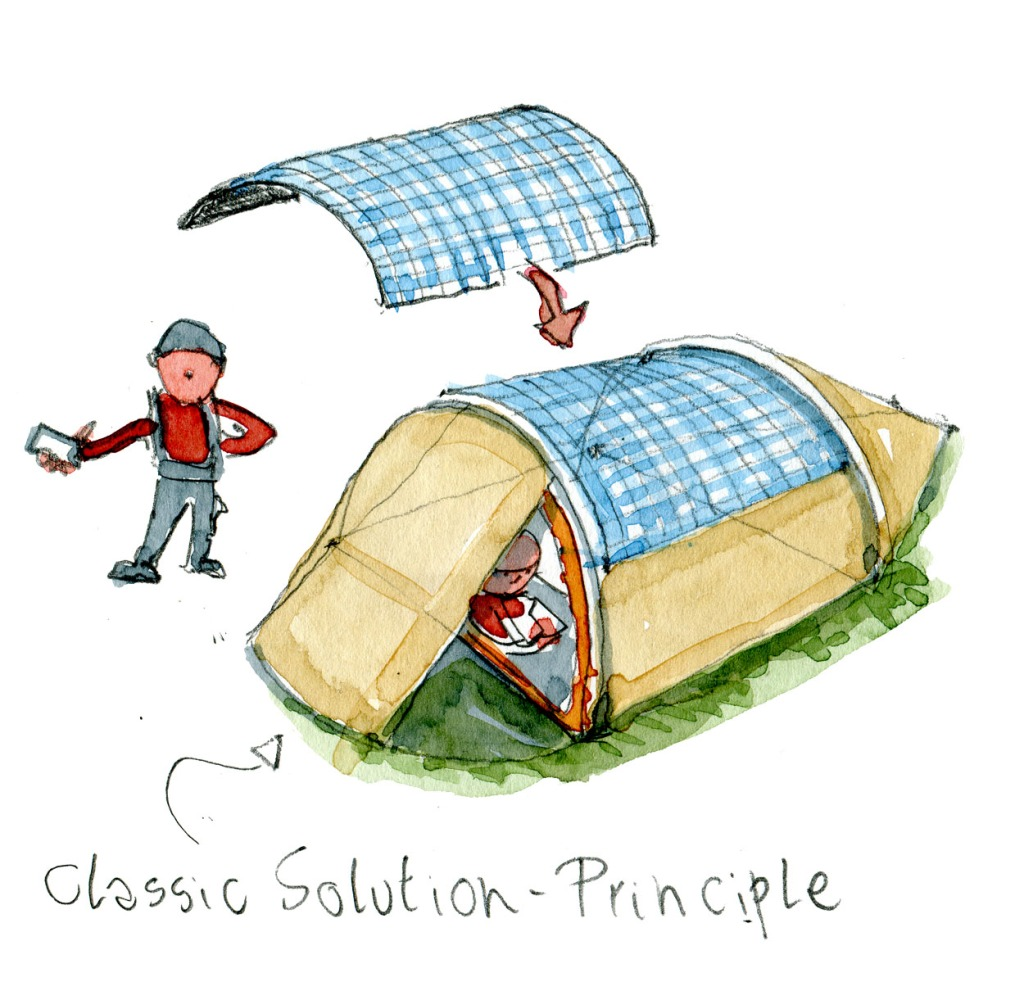 Tunnel Tent with solar panel as upper part, attached or permanent idea. Drawing and concept by Frits Ahlefeldt