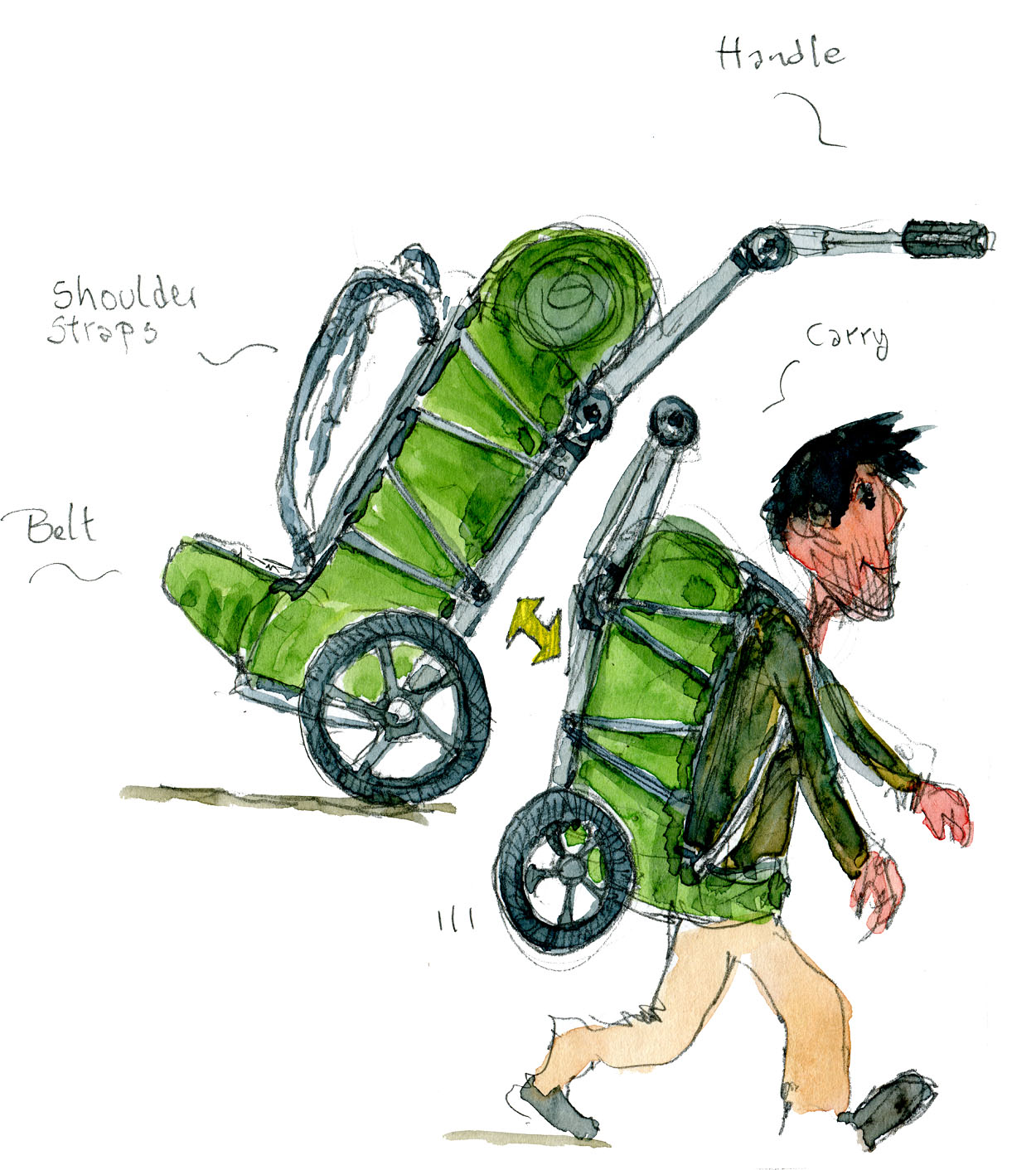 Burley travoy with backpack sketch - used as rolling and as backpack. Drawing by Frits Ahlefeldt