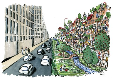 Drawing of a street with driving cars as the logic one one side (grey and no thrive ) and walking as the logic on the other side ( green and filled with life )