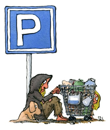 illustration-car-parking-sign-homeless-mother-trolley-walkable-city-by-frits-ahlefeldt