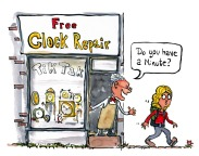 """clock repair shop man asking hiker """"do you have a minute"""" illustration by Frits Ahlefeldt"""