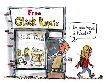 "clock repair shop man asking hiker ""do you have a minute"" illustration by Frits Ahlefeldt"
