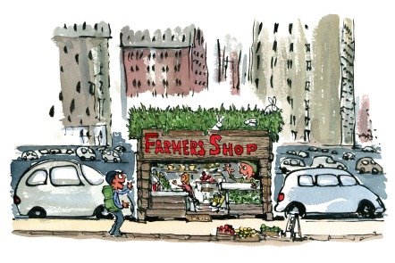 Drawing of a hiker meeting a local farmer, in a small farming shop - local market. illustration by Frits Ahlefeldt