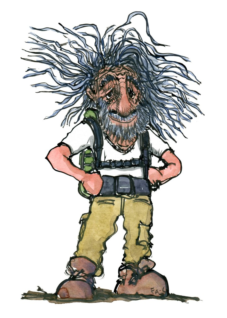 Illustration of an old weather beaten hiker. Portrait by Frits Ahlefeldt