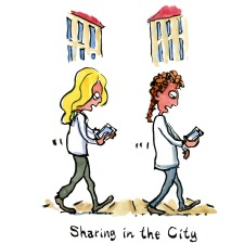 illustration of two women walking in the city, each with a smart phone. drawing by Frits Ahlefeldt
