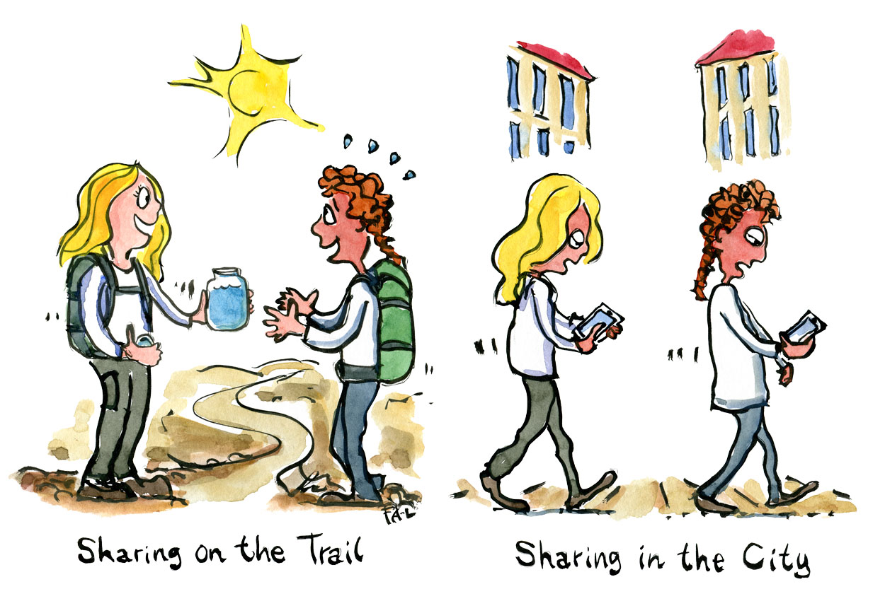 illustration of two hikers sharing a water-bottle and the same two persons in the city, on their phones