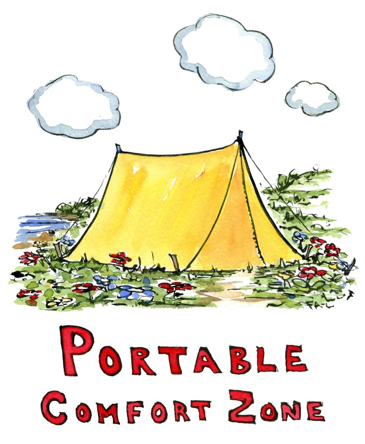 """illustration of yellow tent and the word """"comfort zone. Drawing by Frits Ahlefeldt"""
