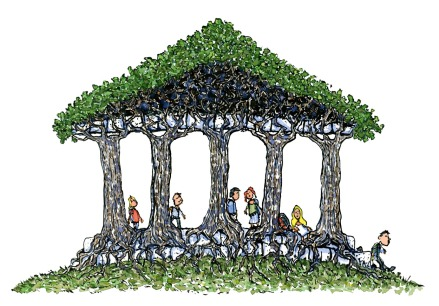 Hikers visiting a temple created from living trees, out in the woods. illustration by Frits Ahlefeldt