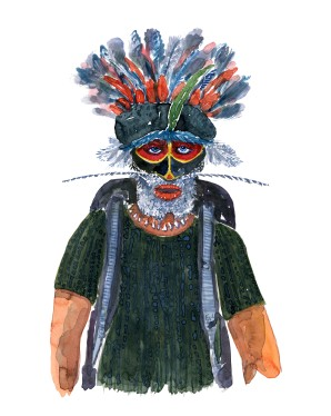 Watercolor of an indigenous, native inspired hiker head wear. Watercolor by Frits Ahlefeldt