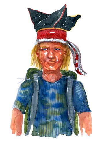Watercolor of an indigenous, native hiker Watercolor by Frits Ahlefeldt