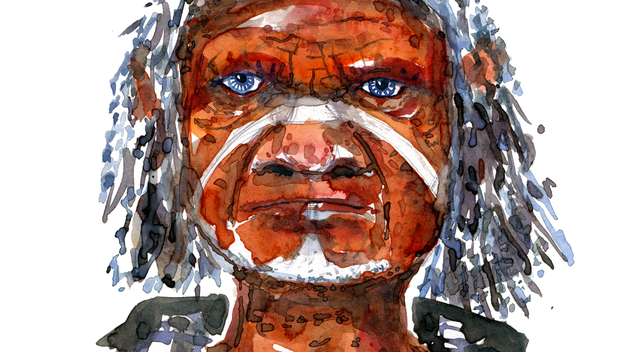 Native looking hiker watercolor by Frits Ahlefeldt