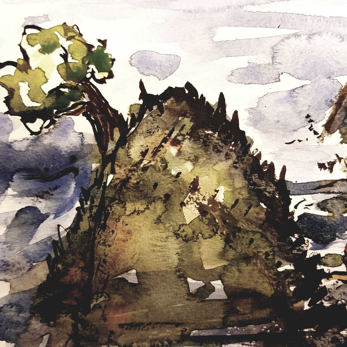 logbook note ancient hill view art by Frits Ahlefeldt, Detail