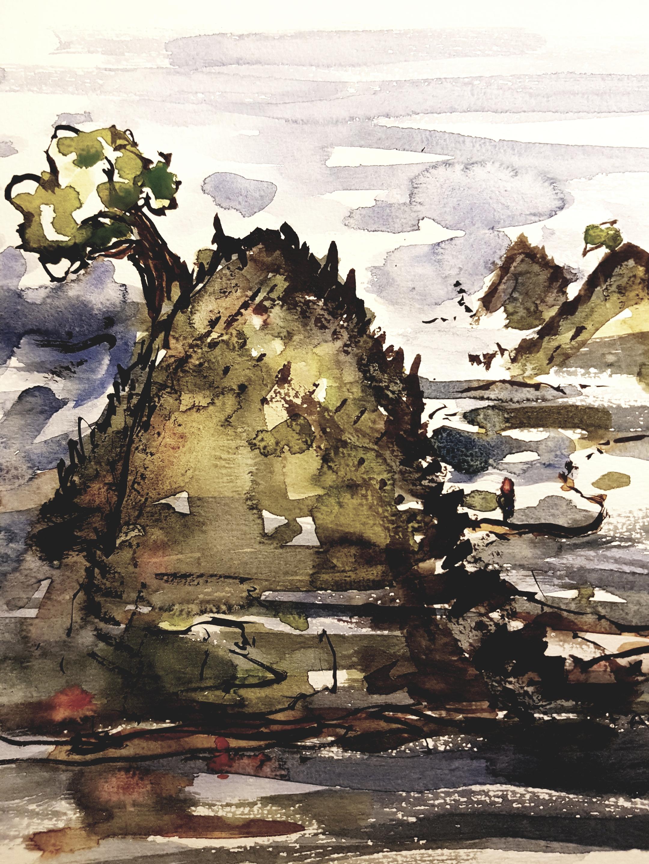 Watercolor of autumn landscape. Art by Frits Ahlefeldt