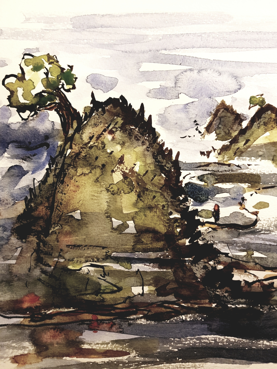 Watercolor of autumn landscape. Art by Frits Ahlefeldt