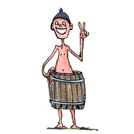 Hiker with hat, smiling in a barrel. illustration by Frits Ahlefeldt