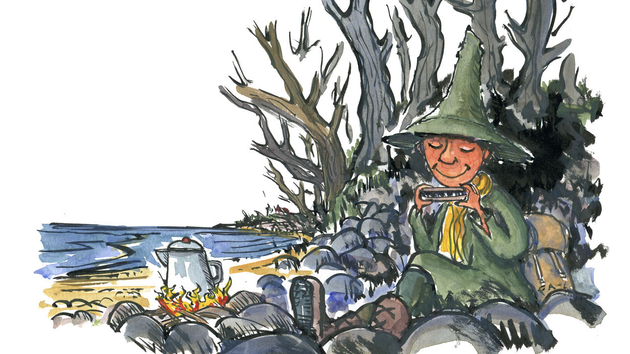 Snufkin the famous hiker from the mumin stories, sketch by Frits Ahlefeldt
