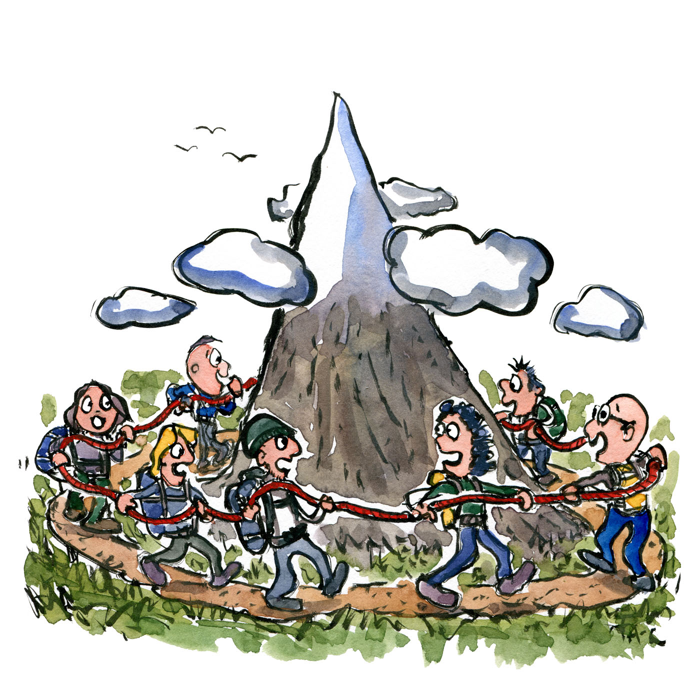 Group of hikers walking around Mountain - illustration by Frits Ahlefeldt