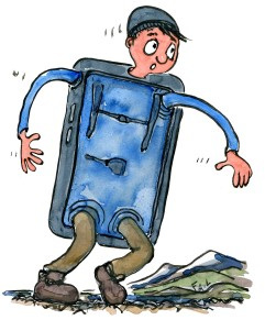 illustration by Frits Ahlefeldt of a hiker that is half evolved into a phone. drawing by Frits Ahlefeldt