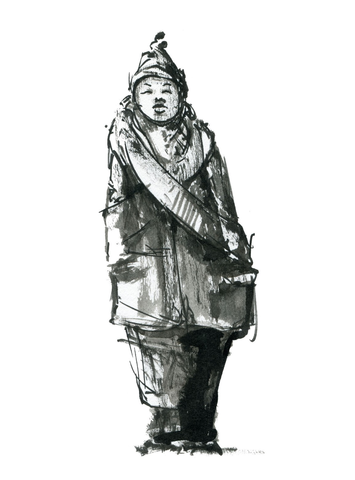 Street sketch in pure ink, brushwork and painting by Frits Ahlefeldt