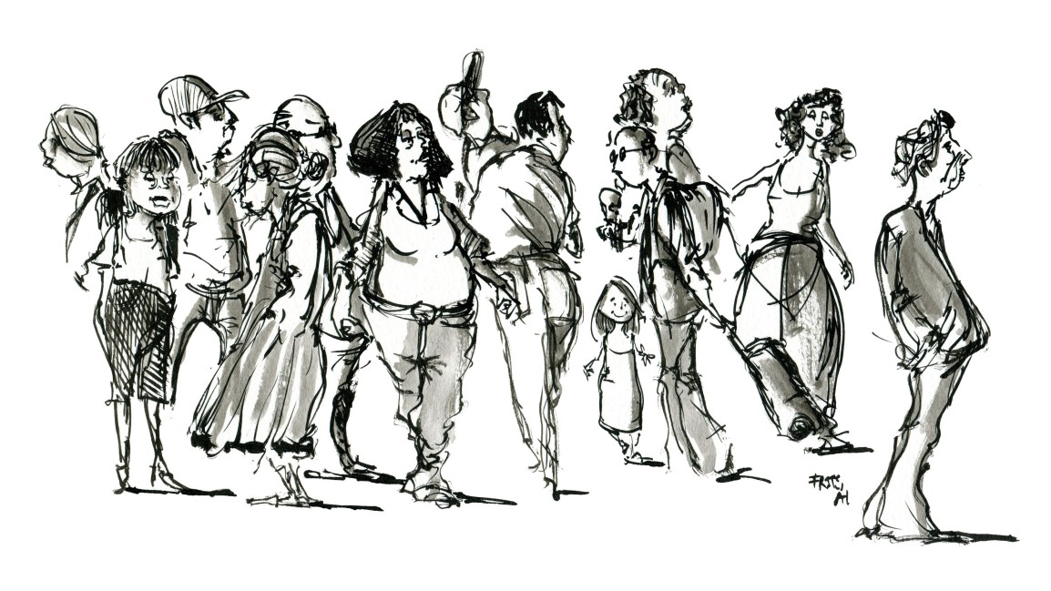 Ink sketches people walkingpast