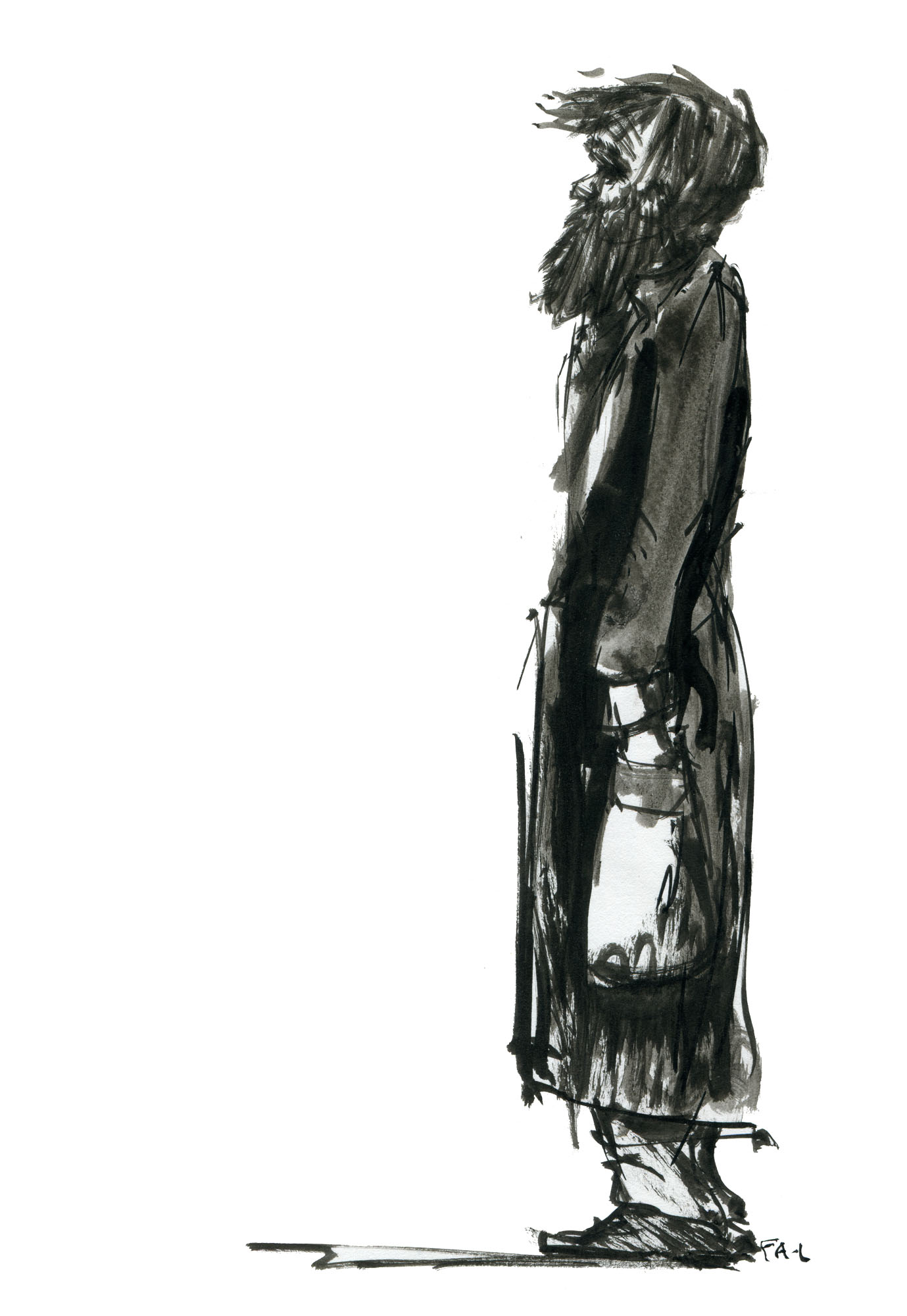 Ink Sketch Man In Long Coat And Beard Side View By Frits Ahlefeldt Fss1 Hiking Org Hiking Philosophy