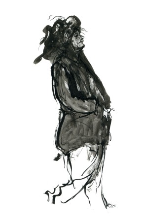 ink-sketch-person-with-strange-hat-walking-by-frits-ahlefeldt