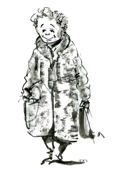 ink-sketch-woman-in-coat-smiling-walking-by-frits-ahlefeldt-fss1