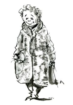 ink-sketch-woman-in-coat-smiling-walking-by-frits-ahlefeldt-fss1