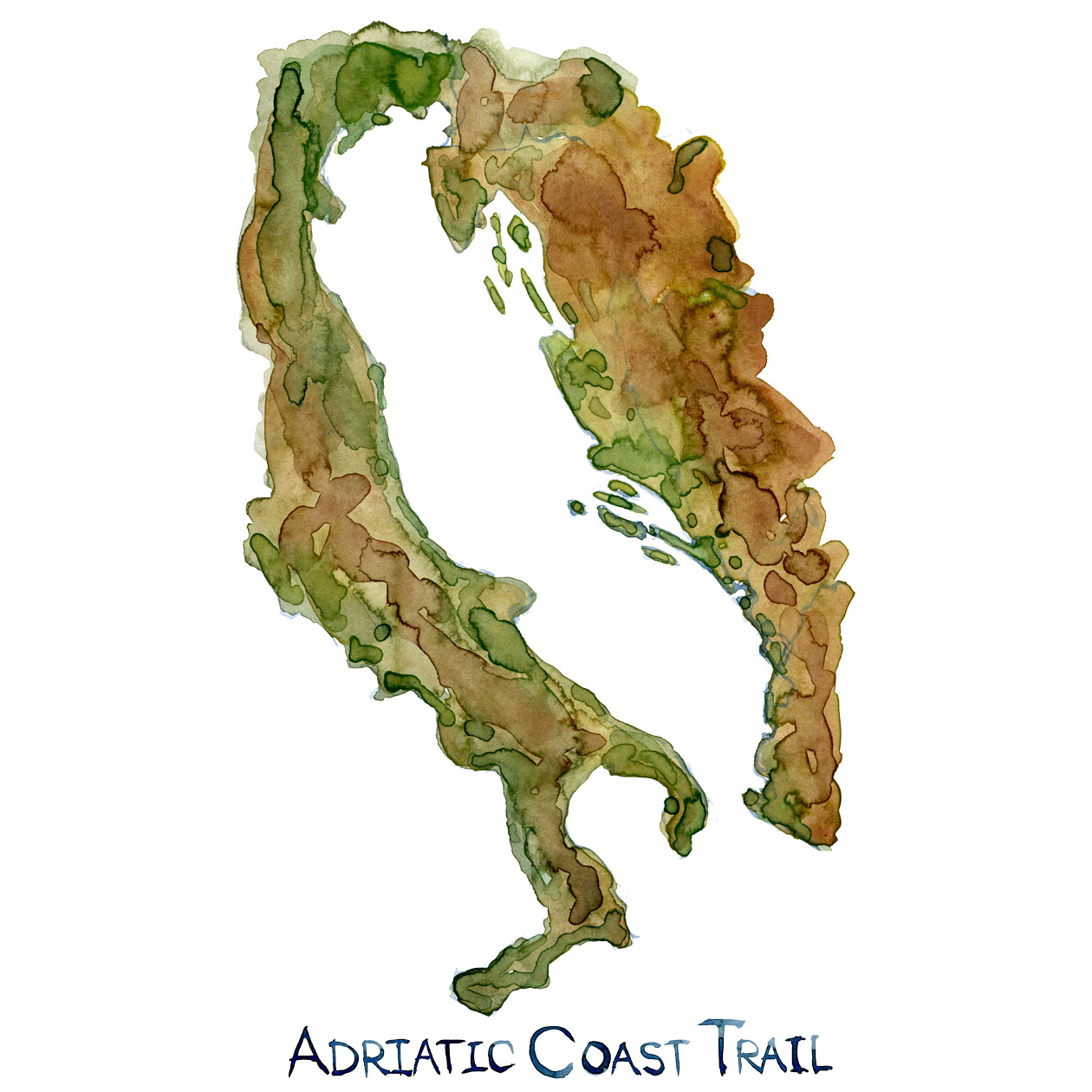 Watercolor of the Coastline around the Adriatic Sea. with the Adriatic Coast Trail Written on it