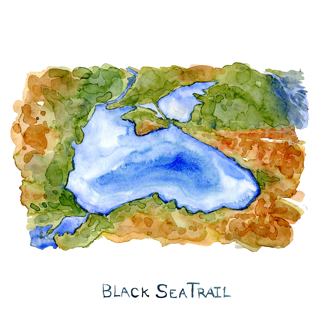 Watercolor map of the Black Sea - hiking trail project by Hiking.org