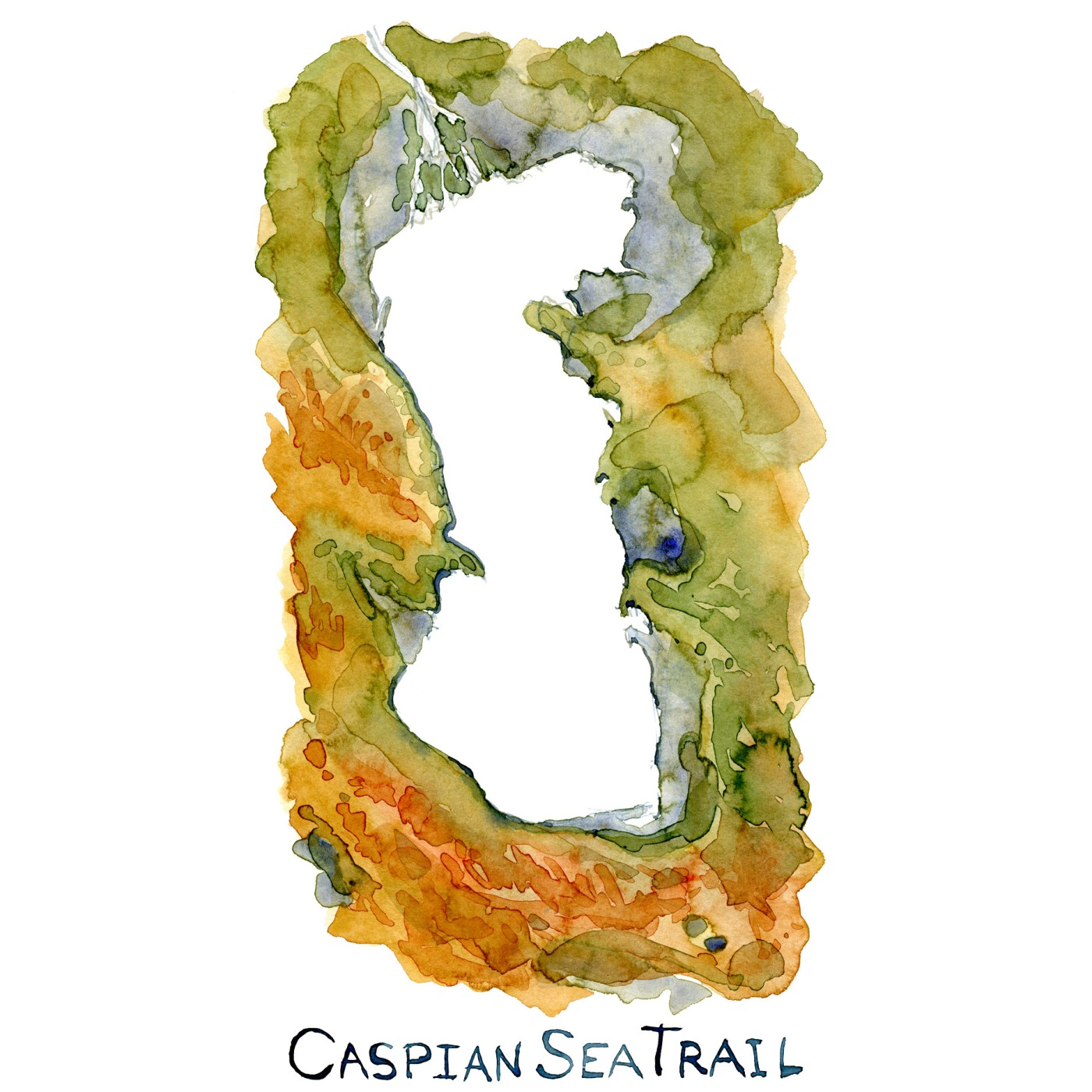 Watercolor map of the coastline around the Caspian Sea. Watercolor by Frits Ahlefeldt