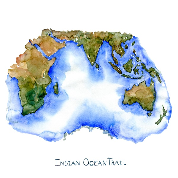Watercolor of the Indian Sea by Frits Ahlefeldt, with the text indian Ocean Trail