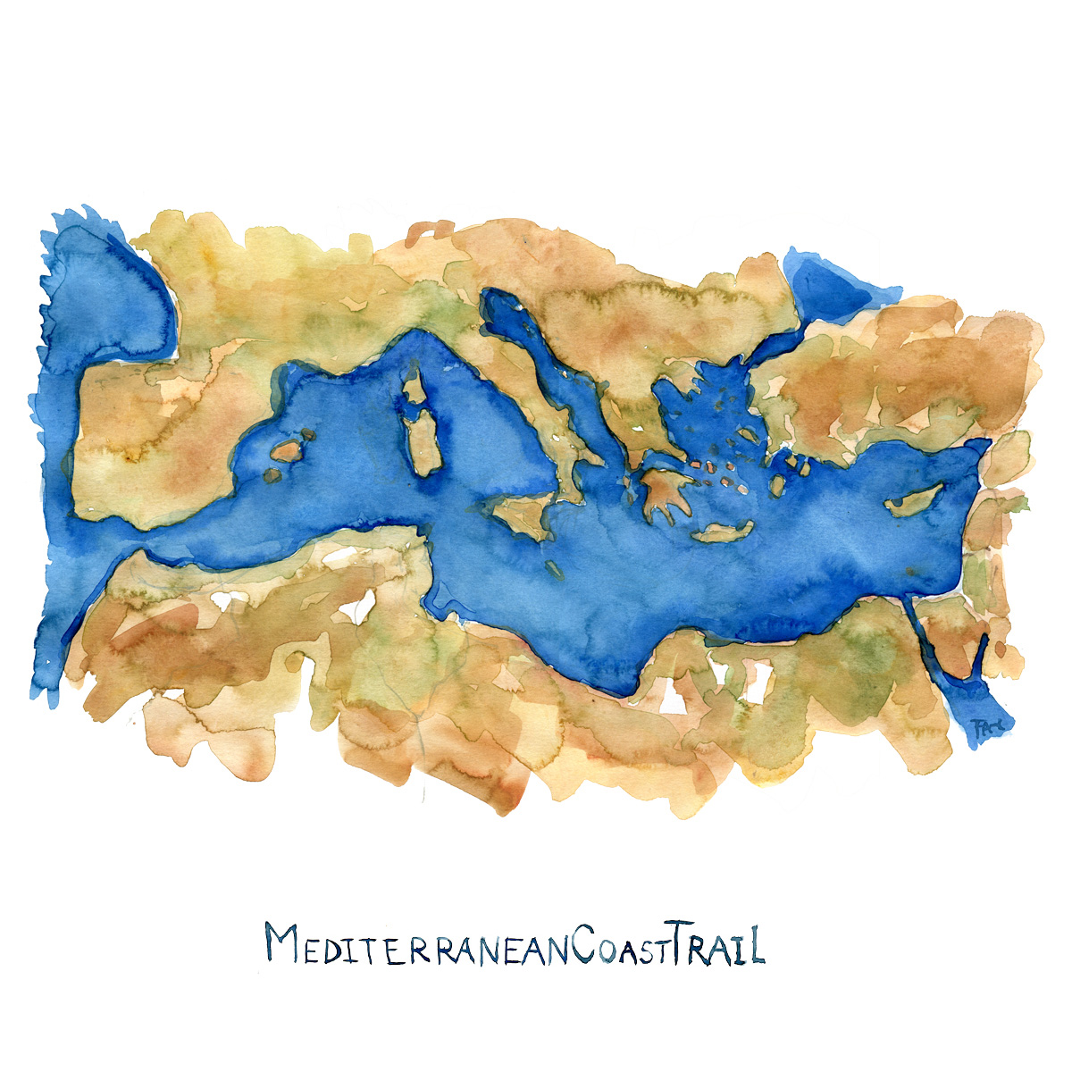Watercolor map of Mediterranean Sea by Frits Ahlefeldt, with the text MediterraneanCoastTrail on it