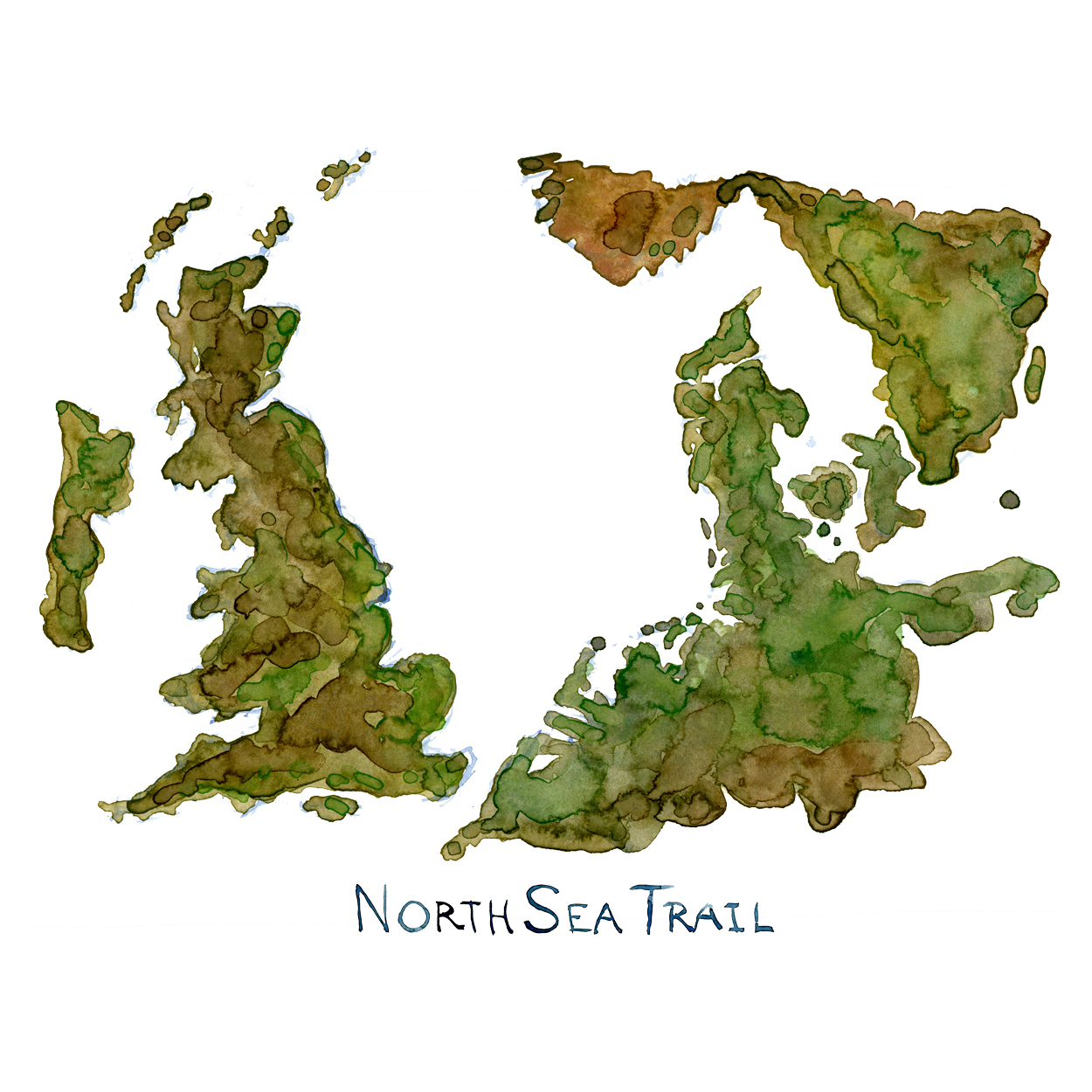 Watercolor map of the North Sea with the North Sea Trail written on it