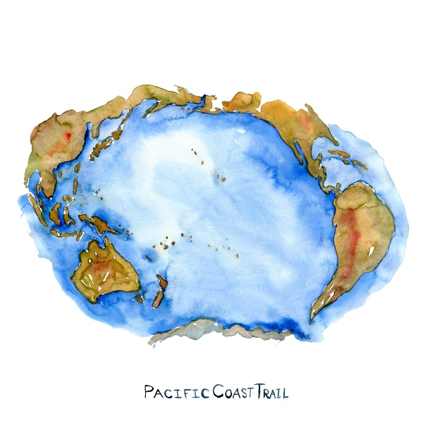Watercolor of the Pacific Ocean with text pacific coast trail. Watercolor by Frits Ahlefeldt