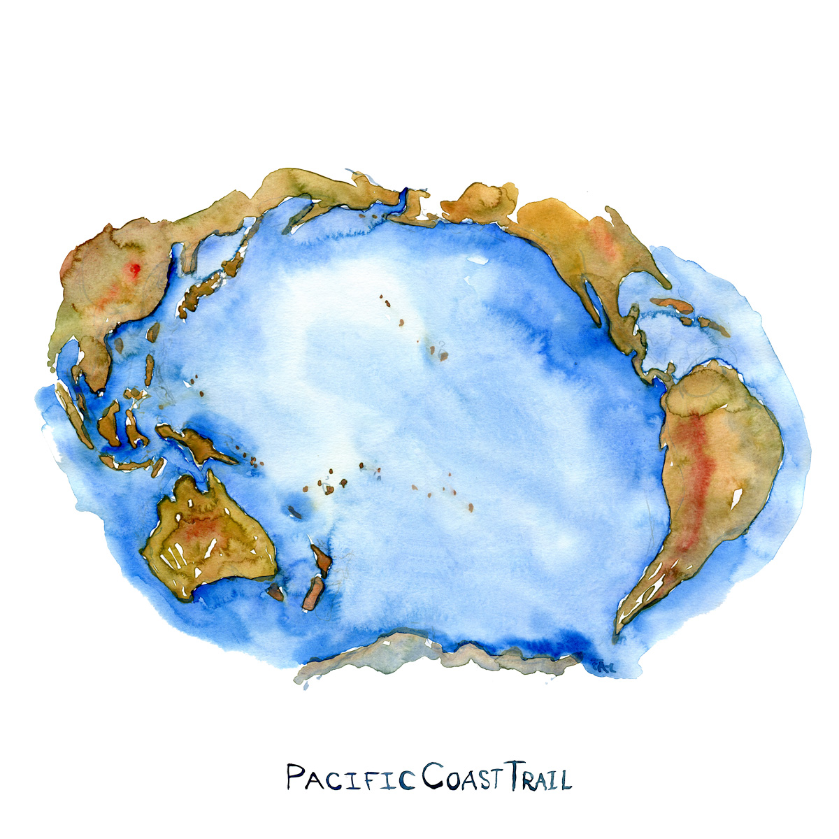 Watercolor of Pacific Ocean with text Pacific Coast Trail. Artwork by Frits Ahlefeldt