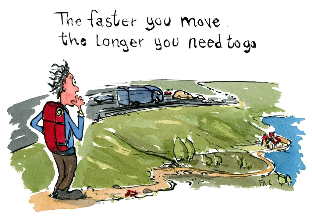 "Hiker wondering ""the faster you move the longer you need to go"" drawing and thought by Frits Ahlefeldt"