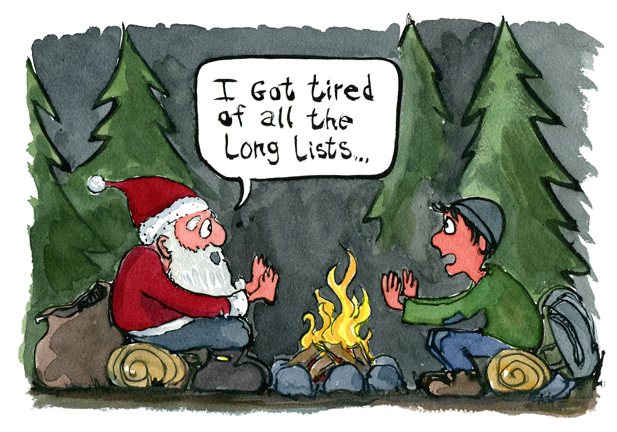 "Santa Claus sitting at a camp fire with hiker. Santa saying ""I got tired of all the long lists"" Illustration by Frits Ahlefeldt"