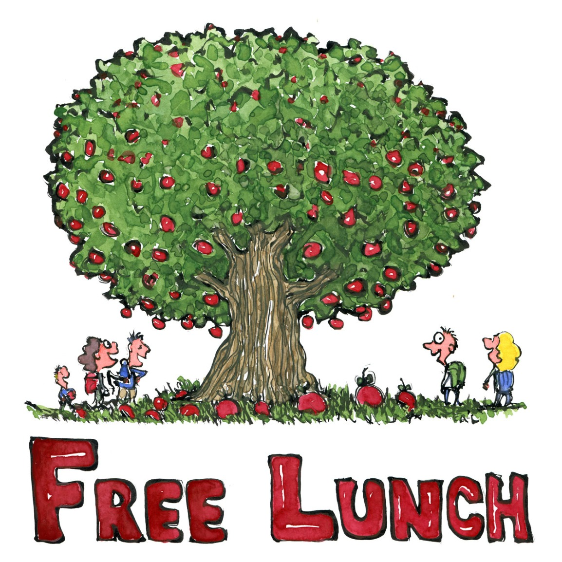 Free lunch - wild apple tree with apples in nature with smiling hikers and the text free lunch