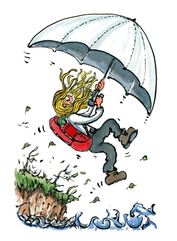 Hiker flying with an umbrella - illustration by Frits Ahlefeldt