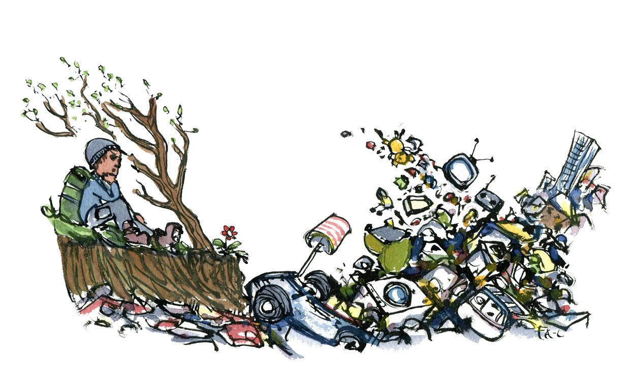Hiker looking at a landfill. drawing by Frits Ahlefeldt