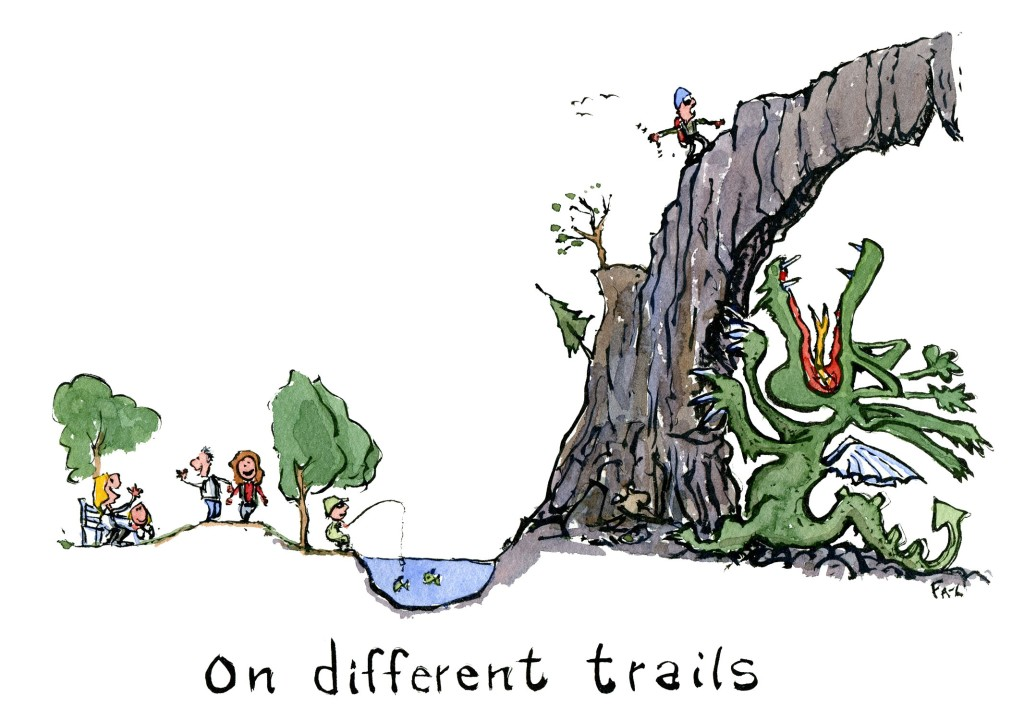 Hikers walking on a smooth trail and beside them a hiker up high on a shaky path, with a dragon under him. Illustration by Frits Ahlefeldt