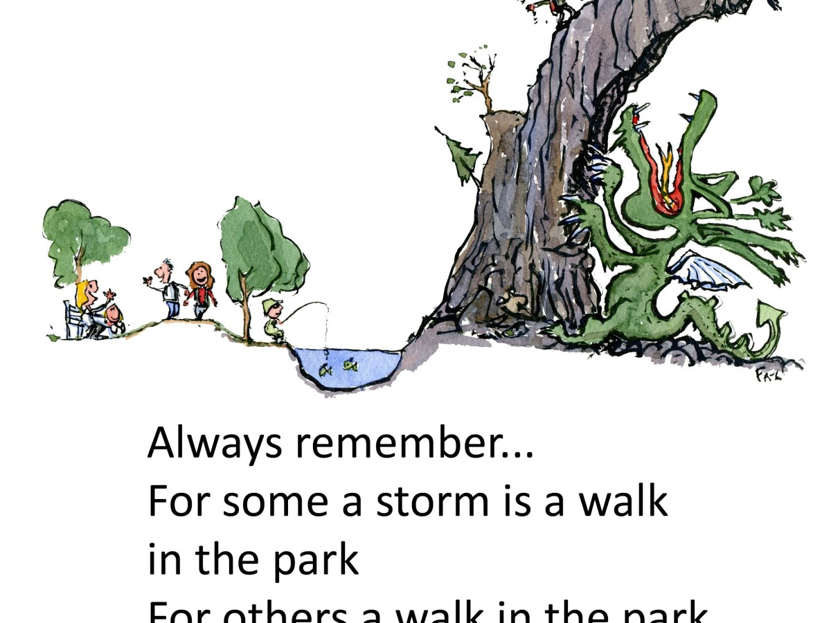 For some a storm is a walk in the park, for others a walk in the park is a storm. Illustration and text by Frits Ahlefeldt